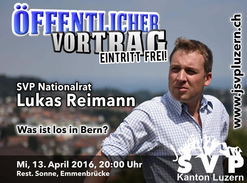 Einladung zum öffentlichen Vortrag von Lukas Reimann