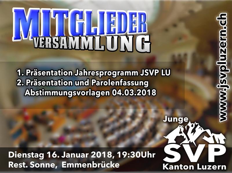 Einladung zur Mitgliederversammlung am 16.1.2018